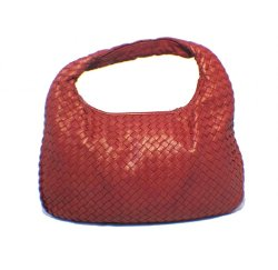 Bottega Veneta  - Classic Woven Red Lambskin Leather Shoulder Bag