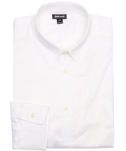 Just Cavalli  - Textured Cotton Point Collar Dress Shirt