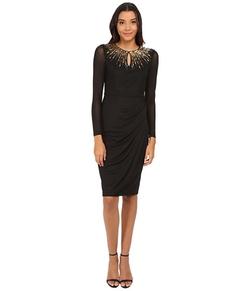 Maggy London - Chiffon Jersey Long Sleeve Sheath Dress