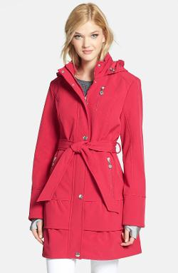 Betsey Johnson  - Tiered Hem Hooded Trench Coat