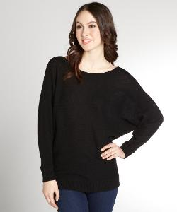 MAGASCHONI  - Black Cashmere Boat Neck Dolman Sleeve Sweater