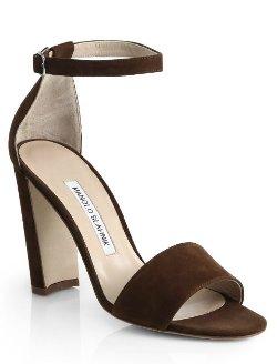 Manolo Blahnik - Lauratop Suede Sandals