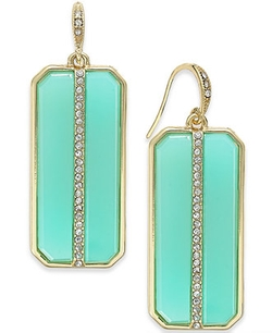 ABS by Allen Schwartz - Rectangle Stone and Pavé Drop Earrings