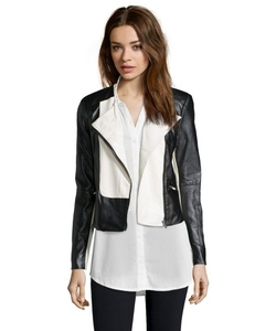 Ellen Tracy  - Faux Leather Colorblock Moto Jacket