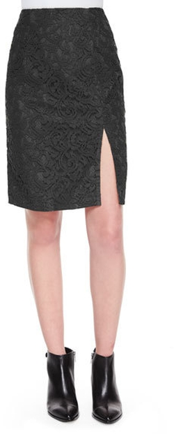 Carven - Lace Front-Slit Pencil Skirt