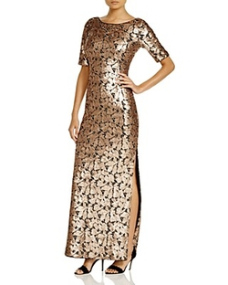 Laundry By Shelli Segal - Sequin Short Sleeve Gown
