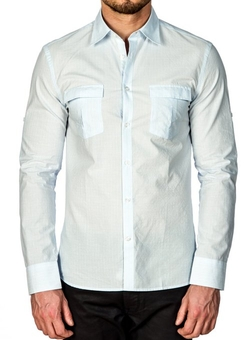 Horst - Striped Long Sleeve Slim Fit Sportshirt
