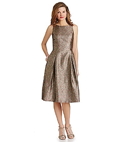 Tahari by ASL - Metallic Midi Jacquard Dress