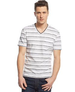 Alfani - End V-Neck Striped T-Shirt