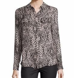 Haute Hippie - Snakeskin-Print Long-Sleeve Silk Blouse