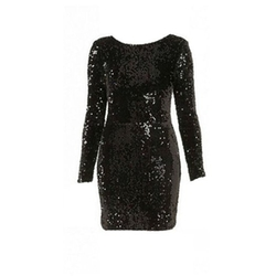 Fuyi - O Neck Long Sleeve Sequins Sparkle Dress