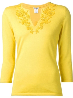 Oscar De La Renta - Embroidered Sweater