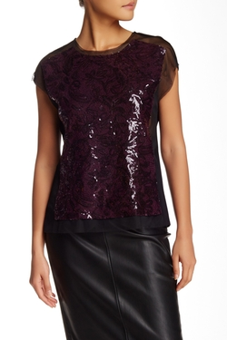 BCBGMAXAZRIA  - Obree Sequined Front Blouse