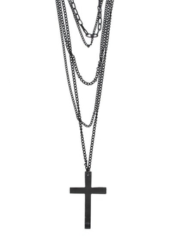 Magic Metal Jewelry - Cross Black Layered Chains Necklace