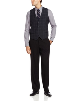 Perry Ellis - Plaid Four Button Welt Pocket Vest