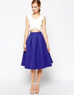 ASOS - Premium Prom Midi Skirt in Bonded Crepe