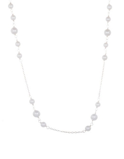 Lord & Taylor  - Sterling Silver Faux Pearl Station Necklace