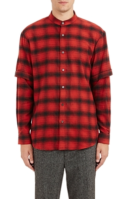 Public School  - Layered-Sleeve Flannel Shirt