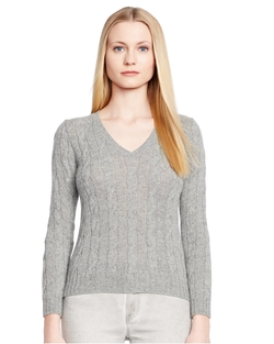 Ralph Lauren - Cabled Cashmere V-Neck Sweater