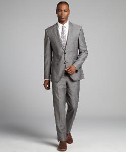 Hugo Boss - Grey Crosshatch Wool-Linen Blend Two Button Suit With Flat Front