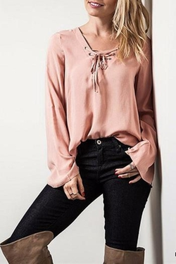 Simply Dena - Lace Up Blouse