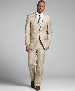 TOMMY HILFIGER - Tan Pinstripe Wool-Linen