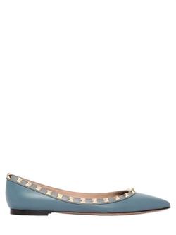 Valentino - Rockstud Leather Ballerina Flats
