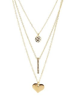Charlotte Russe - Disk Bar & Heart Layered Necklace