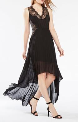 BCBGMAXAZRIA - Angelea Lace Trim Pleated Dress