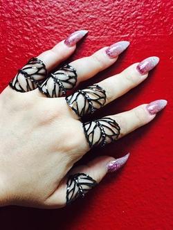 Marianna Harutunian - Black Henna Leaf Tattoo Rings