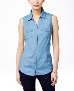 Style&Co. - Sleeveless Denim Shirt
