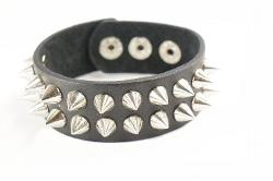 Princess-J  - Punk Gothic Black Leather Wide Bracelet