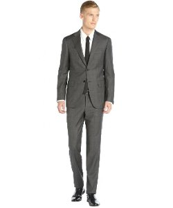 Canali  - Grey Check Wool Two-button Flat Front Pants Suit