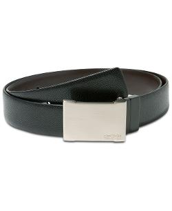 Kenneth Cole Reaction  - Textured Reversible Plaque Buckle Belt
