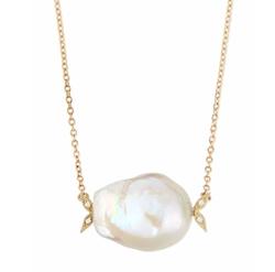 Mizuki - Diamond Leaf & Pearl Necklace