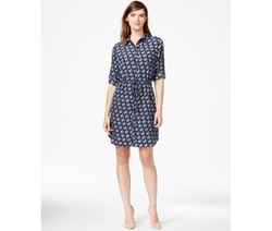 Maison Jules - Roll-Tab-Sleeve Hummingbird-Print Shirtdress