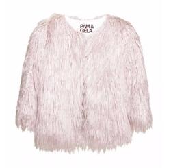 Pam & Gela - Faux Mongolian Fur Cropped Jacket