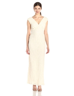 Marina - V-Neck Laser Beaded Cut Gown