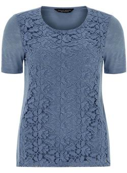 Dorothy Perkins - Denim Lace Front Tee
