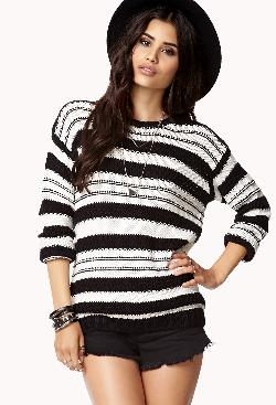Forever 21 - Striped Open-Knit Sweater