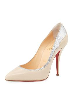 Christian Louboutin	  - Tucsy Glitter-Trim Red Sole Pump