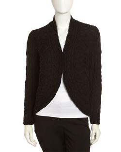 Lafayette  - 148 New York Cable-Knit Cutaway Cardigan, Black