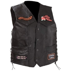 Diamond Plate - Rock Design Genuine Leather Vest