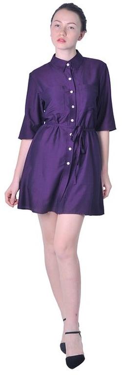 Marycrafts - Collared Button Down Shirt Dress