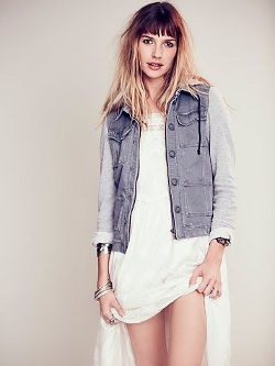 Free People - Knit Hooded Twill Jacket