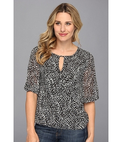 Vince Camuto  - Elbow Sleeve Dot Terrain Wrap Front Blouse