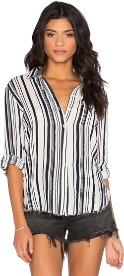 Stateside - Stripe Veil Long Sleeve Button Up Top