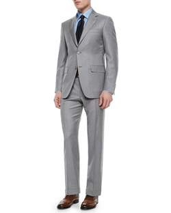 Canali  - Solid Wool Two-Button Suit