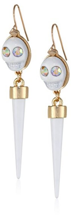 Steve Madden - White Skull Spike Drop Earrings