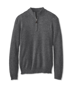 Cullen - Tipped Quarter Zip Cashmere Sweater